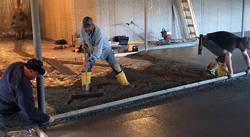 Concrete poured in basement