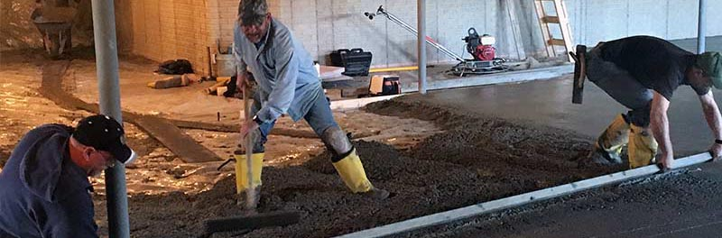 Concrete poured in basement